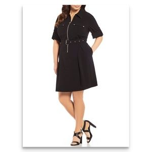 Michael Michael Kors Belted Black Shirt Dress XL